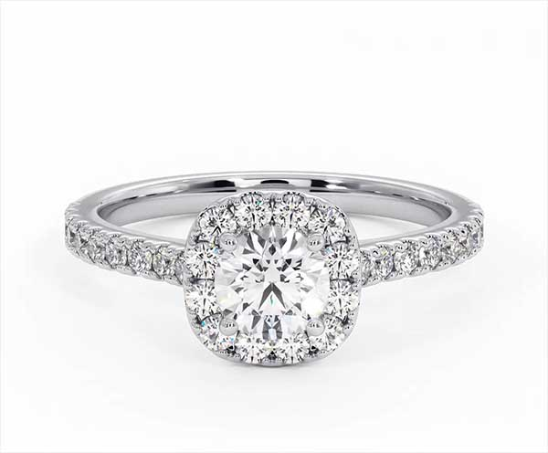 Elizabeth GIA Diamond Halo Engagement Ring 18K White Gold 1.00ct G/SI2 - 360 View