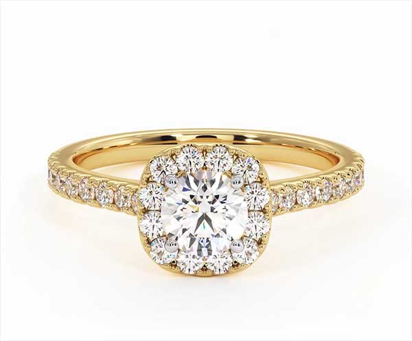 Elizabeth GIA Diamond Halo Engagement Ring in 18K Gold 1.00ct G/VS2 - 360 View