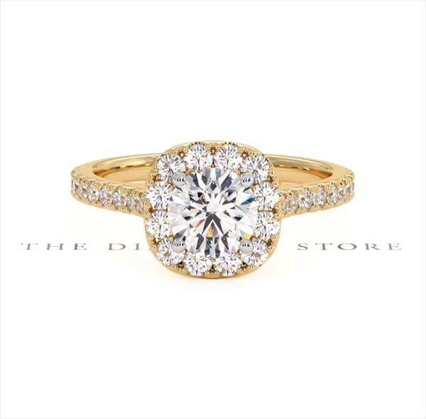 Elizabeth GIA Diamond Halo Engagement Ring in 18K Gold 1.30ct G/SI2 - 360 View