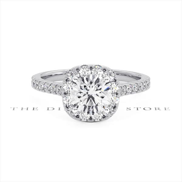 Elizabeth GIA Diamond Halo Engagement Ring 18K White Gold 1.50ct G/SI2 - 360 View
