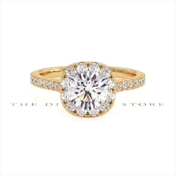 Elizabeth GIA Diamond Halo Engagement Ring in 18K Gold 1.50ct G/SI2 - 360 View