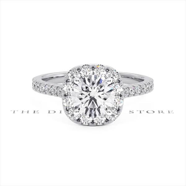 Elizabeth Lab Diamond Halo Engagement Ring in Platinum 2.50ct G/SI1 - 360 View