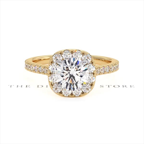 Elizabeth GIA Diamond Halo Engagement Ring in 18K Gold 1.70ct G/VS1 - 360 View