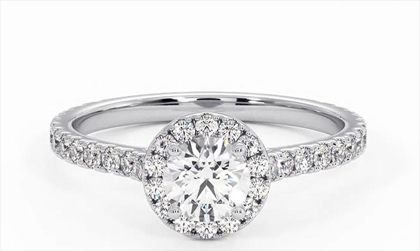 Reina GIA Diamond Halo Engagement Ring in Platinum 1.10ct G/SI2 - 360 View
