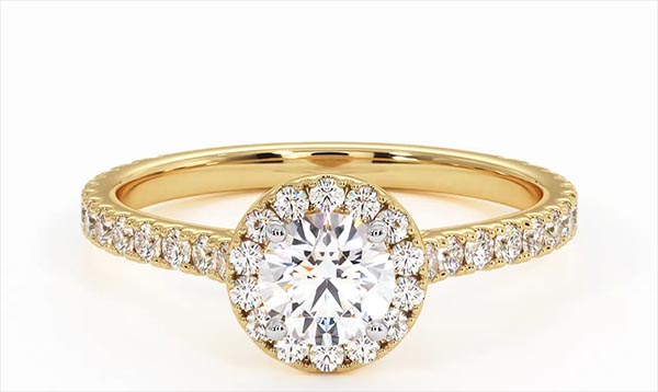 Reina GIA Diamond Halo Engagement Ring in 18K Gold 1.10ct G/VS1 - 360 View
