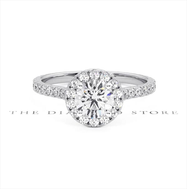 Reina GIA Diamond Halo Engagement Ring in 18K White Gold 1.40ct G/SI2 - 360 View