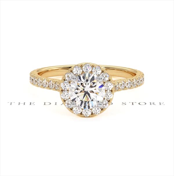 Reina GIA Diamond Halo Engagement Ring in 18K Gold 1.40ct G/VS1 - 360 View