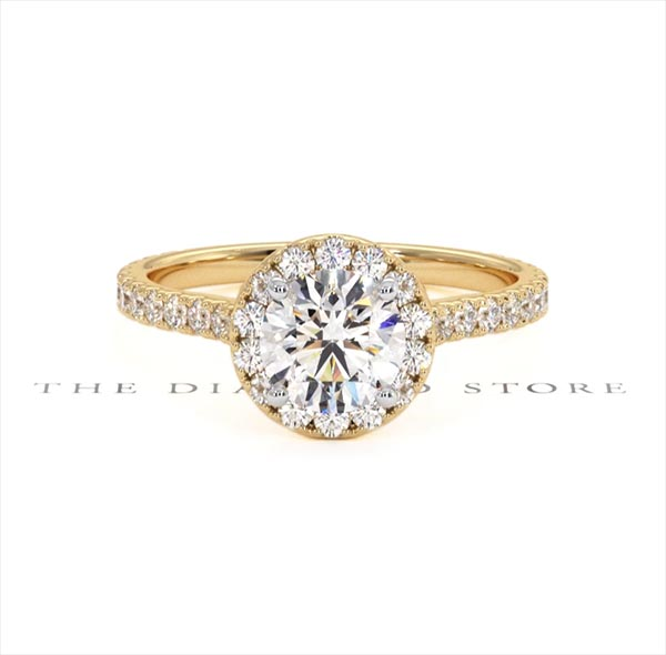 Reina GIA Diamond Halo Engagement Ring in 18K Gold 1.60ct G/SI2 - 360 View