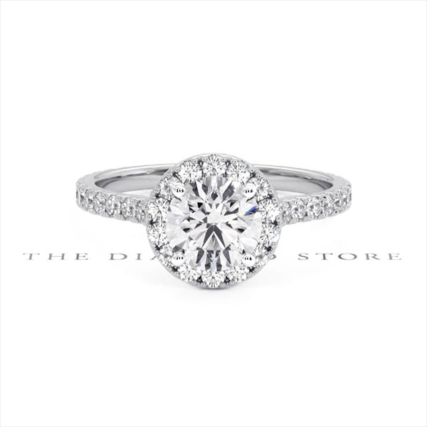 Reina GIA Diamond Halo Engagement Ring in Platinum 1.80ct G/VS1 - 360 View