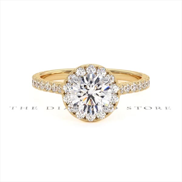 Reina GIA Diamond Halo Engagement Ring in 18K Gold 1.80ct G/VS1 - 360 View