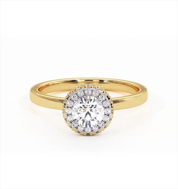 Eleanor GIA Diamond Halo Engagement Ring in 18K Gold 0.65ct G/SI1 - 360 View