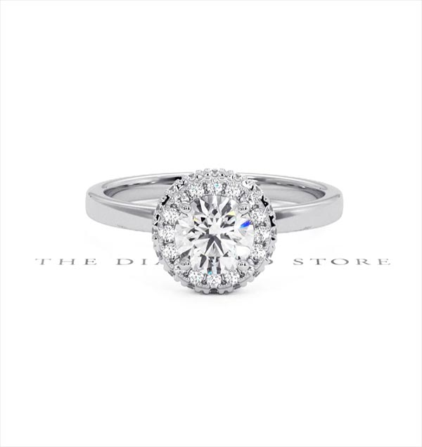 Eleanor GIA Diamond Halo Engagement Ring in Platinum 0.87ct G/SI2 - 360 View