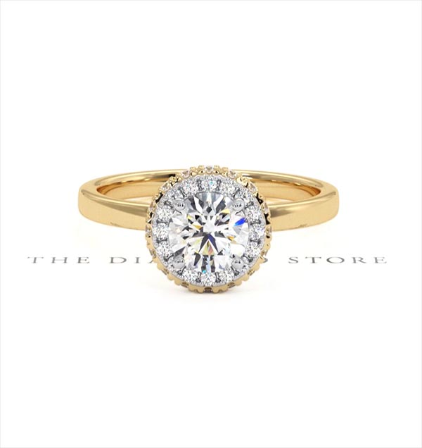 Eleanor GIA Diamond Halo Engagement Ring in 18K Gold 0.87ct G/SI1 - 360 View