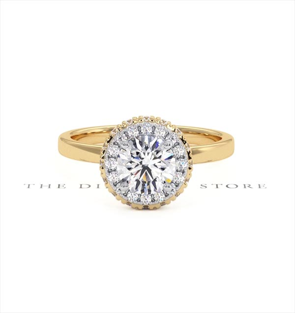 Eleanor GIA Diamond Halo Engagement Ring in 18K Gold 1.09ct G/VS1 - 360 View