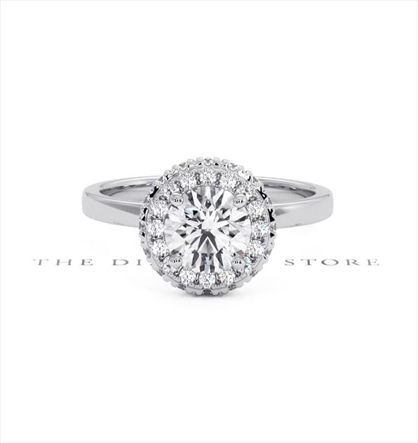 Eleanor GIA Diamond Halo Engagement Ring in Platinum 1.23ct G/VS1 - 360 View