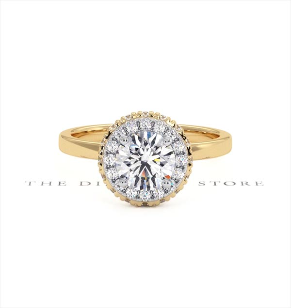 Eleanor GIA Diamond Halo Engagement Ring in 18K Gold 1.23ct G/VS1 - 360 View