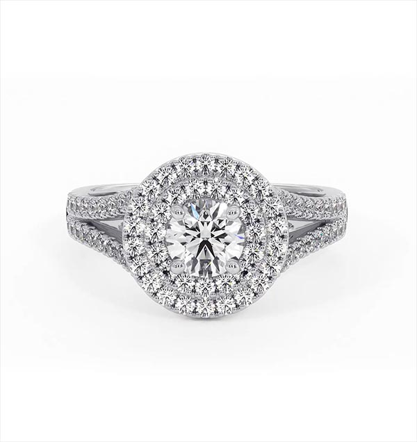 Camilla GIA Diamond Halo Engagement Ring in Platinum 1.15ct G/VS2 - 360 View