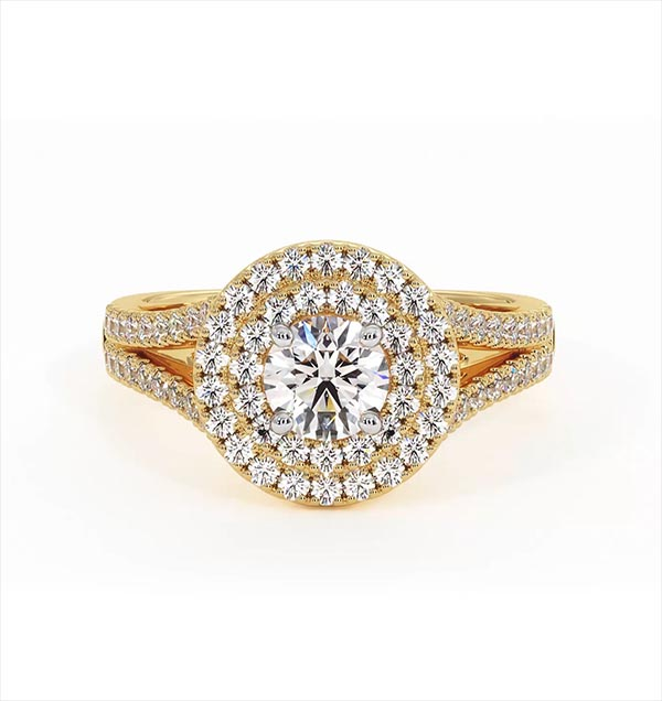 Camilla GIA Diamond Halo Engagement Ring in 18K Gold 1.15ct G/VS2 - 360 View