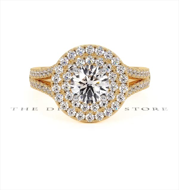 Camilla GIA Diamond Halo Engagement Ring in 18K Gold 1.65ct G/VS2 - 360 View