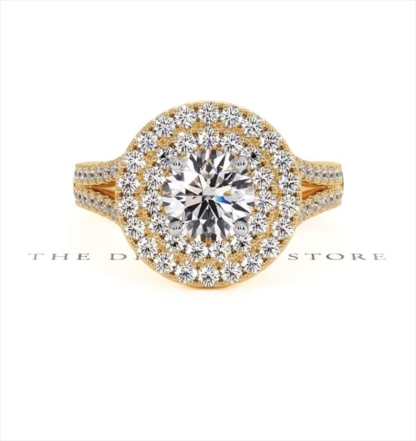 Camilla GIA Diamond Halo Engagement Ring in 18K Gold 1.85ct G/VS2 - 360 View