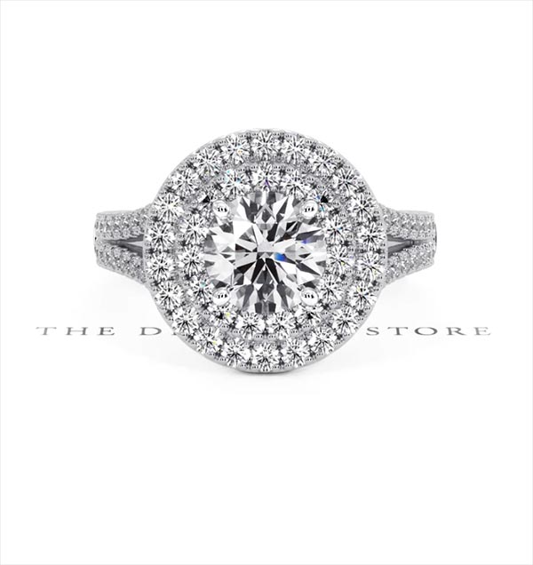 Camilla GIA Diamond Halo Engagement Ring in Platinum 2.15ct G/SI1 - 360 View