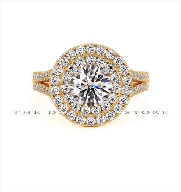 Camilla GIA Diamond Halo Engagement Ring in 18K Gold 2.15ct G/SI1 - 360 View
