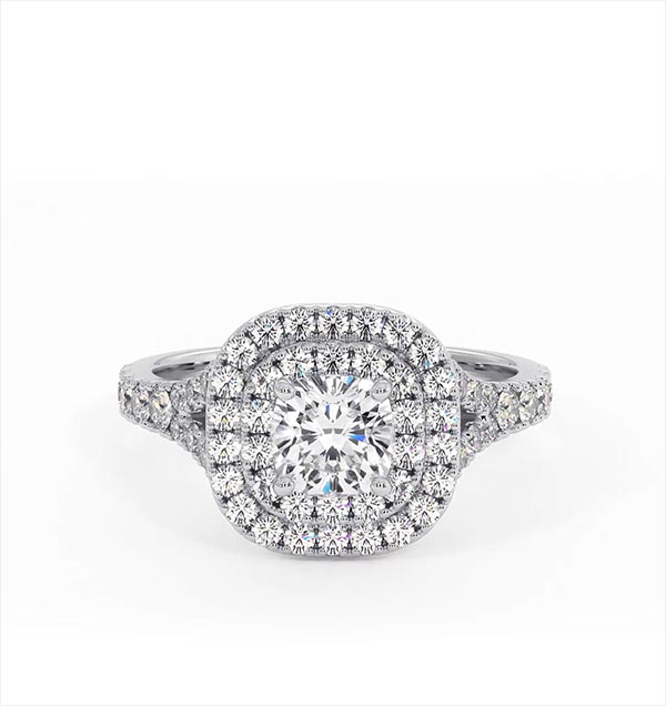Cleopatra GIA Diamond Halo Engagement Ring in Platinum 1.20ct G/SI1 - 360 View