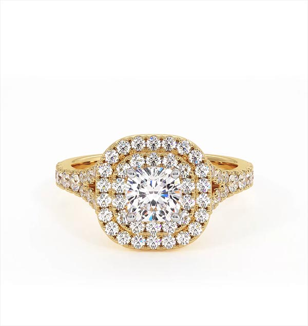 Anastasia GIA Diamond Halo Engagement Ring in 18K Gold 1.30ct G/VS2 - 360 View