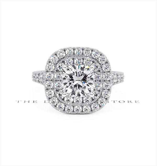 Anastasia GIA Diamond Halo Engagement Ring in Platinum 1.85ct G/SI1 - 360 View