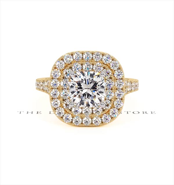 Anastasia Lab Diamond Halo Engagement Ring in 18K Gold 2.70ct G/VS1 - 360 View