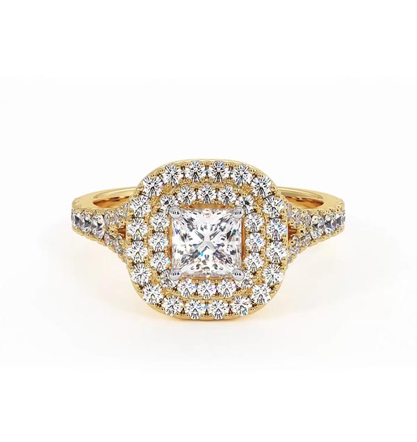 Cleopatra GIA Diamond Halo Engagement Ring in 18K Gold 1.20ct G/SI1 - 360 View