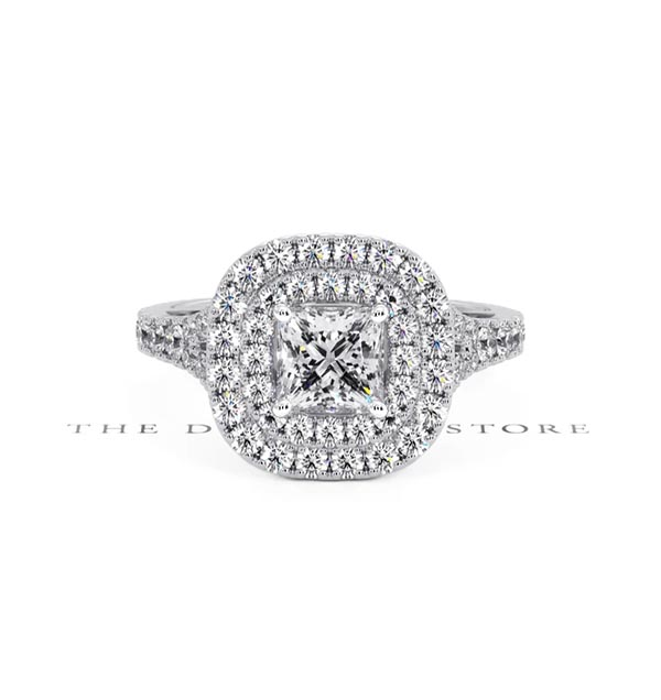 Cleopatra GIA Diamond Halo Engagement Ring in Platinum 1.45ct G/VS1 - 360 View