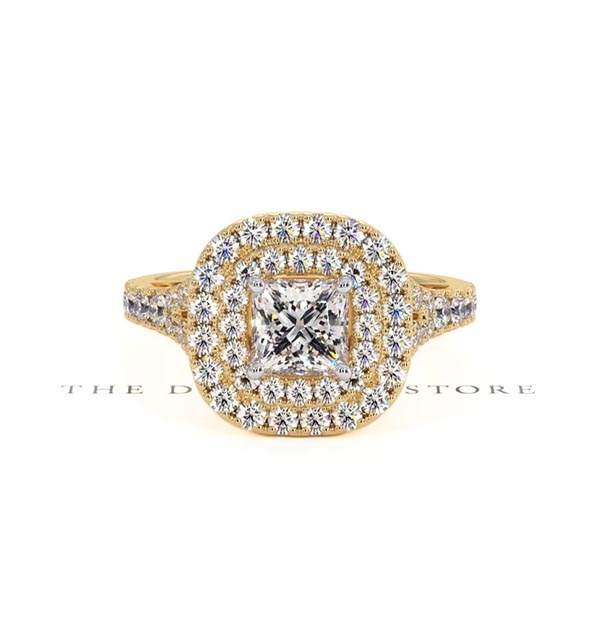 Cleopatra GIA Diamond Halo Engagement Ring in 18K Gold 1.45ct G/SI1 - 360 View