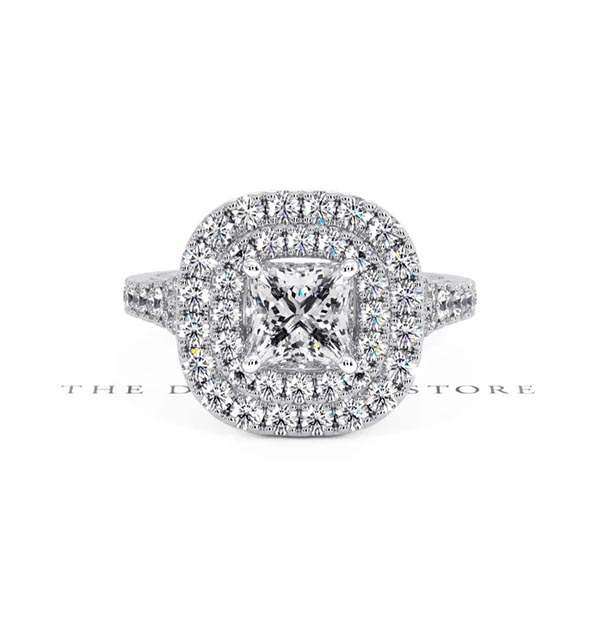 Cleopatra GIA Diamond Halo Engagement Ring 18K White Gold 1.70ct G/SI2 - 360 View