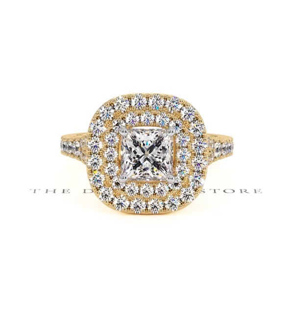 Cleopatra GIA Diamond Halo Engagement Ring in 18K Gold 1.70ct G/VS1 - 360 View