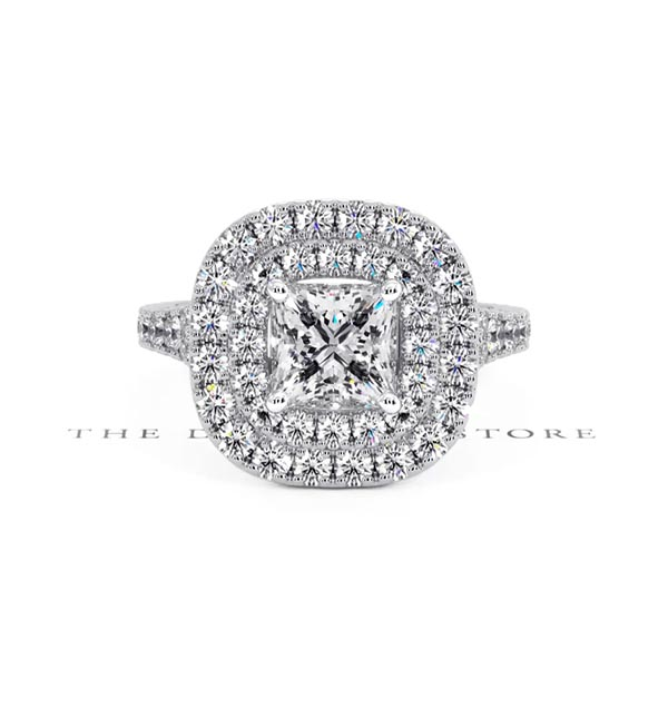 Cleopatra GIA Diamond Halo Engagement Ring in Platinum 1.85ct G/VS1 - 360 View