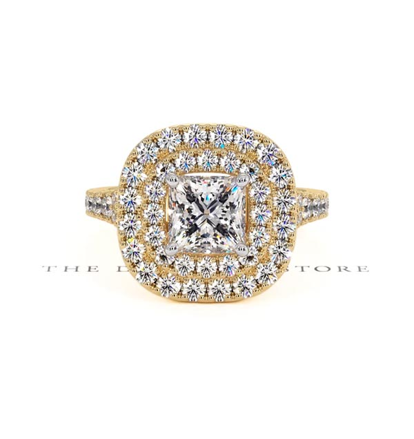 Cleopatra GIA Diamond Halo Engagement Ring in 18K Gold 1.85ct G/SI1 - 360 View