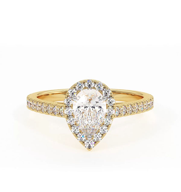 Diana GIA Diamond Pear Halo Engagement Ring in 18K Gold 1ct G/VS2 - 360 View