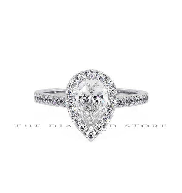 Diana GIA Diamond Pear Halo Engagement Ring 18KW Gold 1.35ct G/SI2 - 360 View