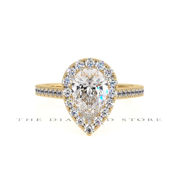 Diana GIA Diamond Pear Halo Engagement Ring in 18K Gold 1.60ct G/SI2 - 360 View